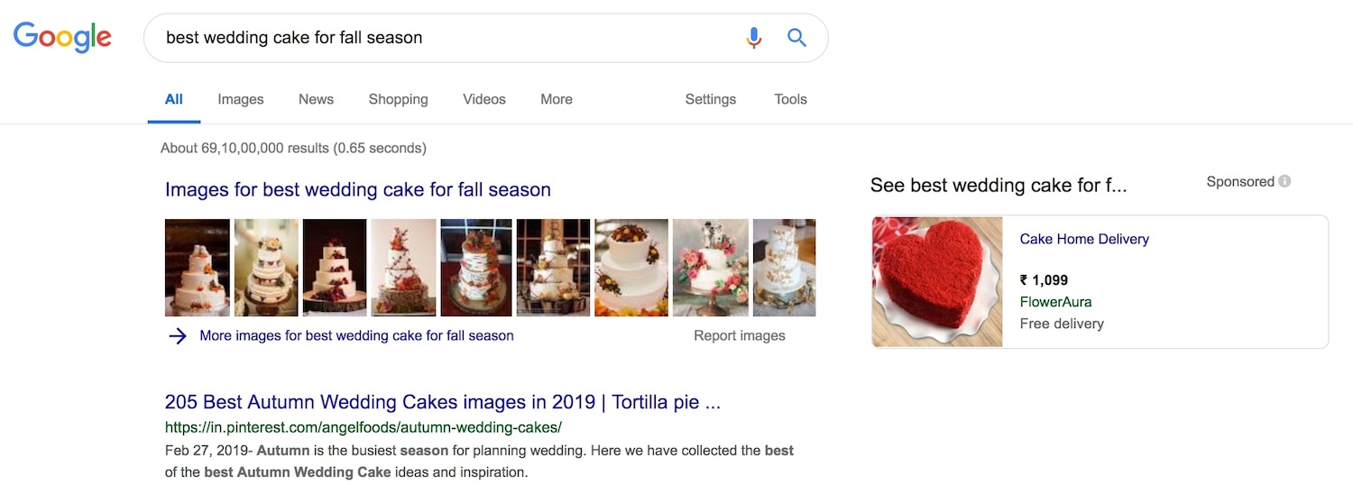 """""""wedding cake image thumbnails on the search results page of Google"""""""