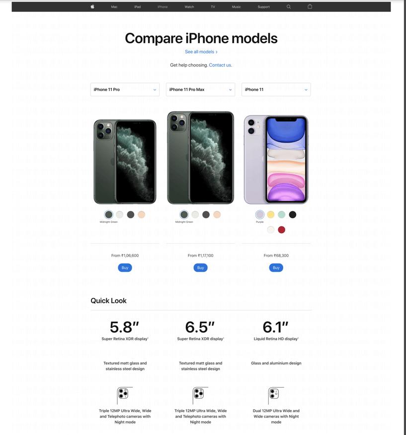 """""""apple product comparison"""""""