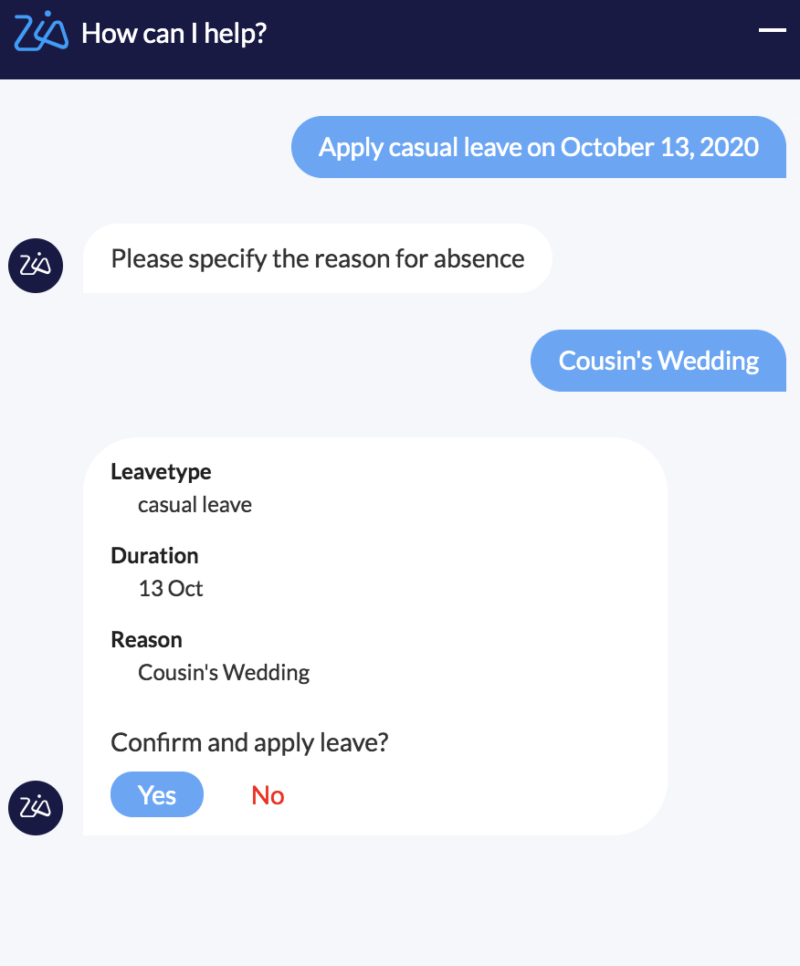 """""""Applying leave with Zia in Zoho People"""""""