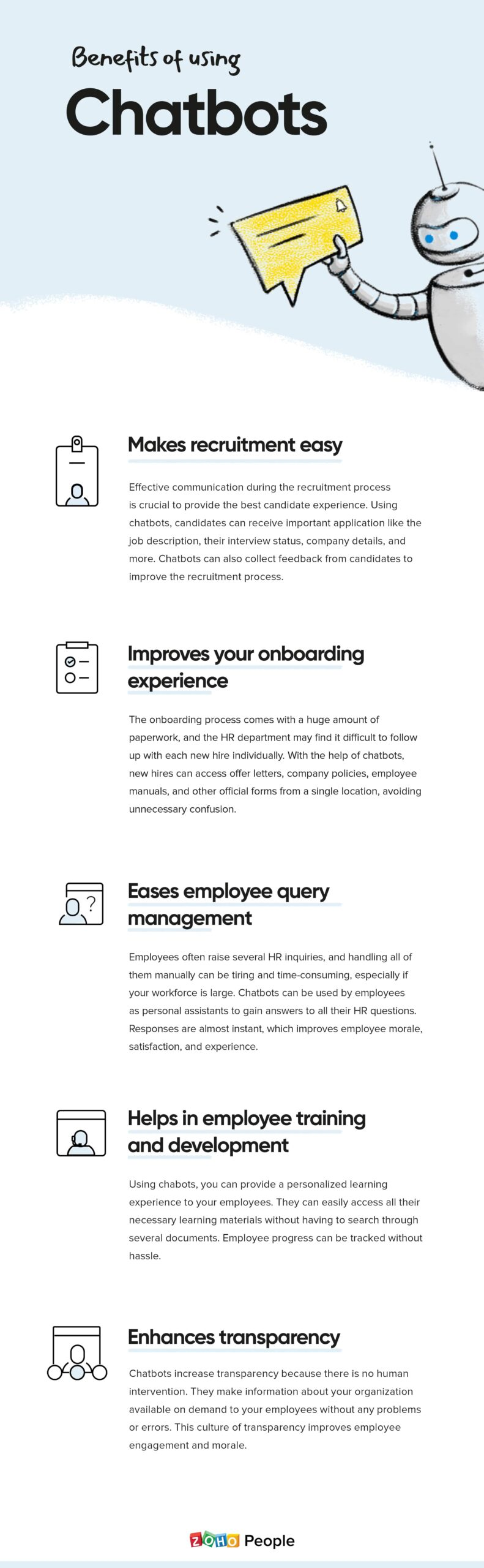 """""""Benefits of using chatbots in HR management"""""""