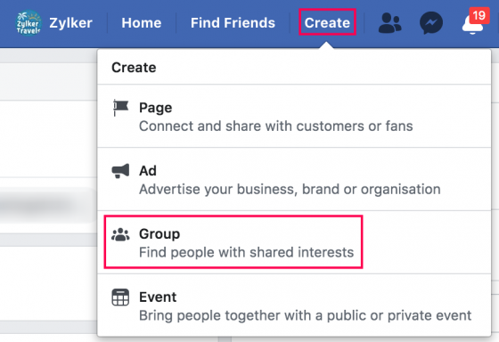 create facebook group 1