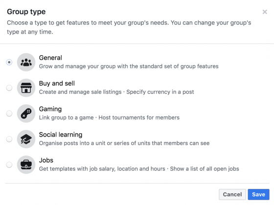 facebook group type