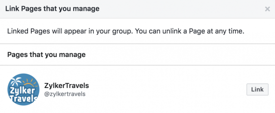 facebook group linked pages