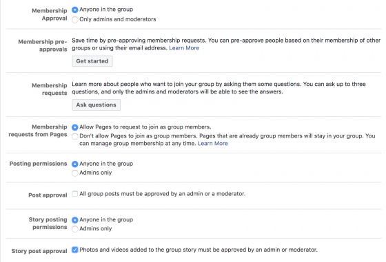 facebook group membership settings