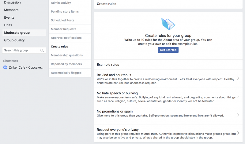 facebook group moderate group