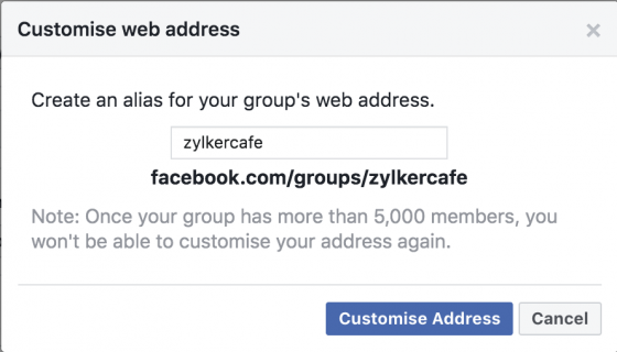 facebook group web address