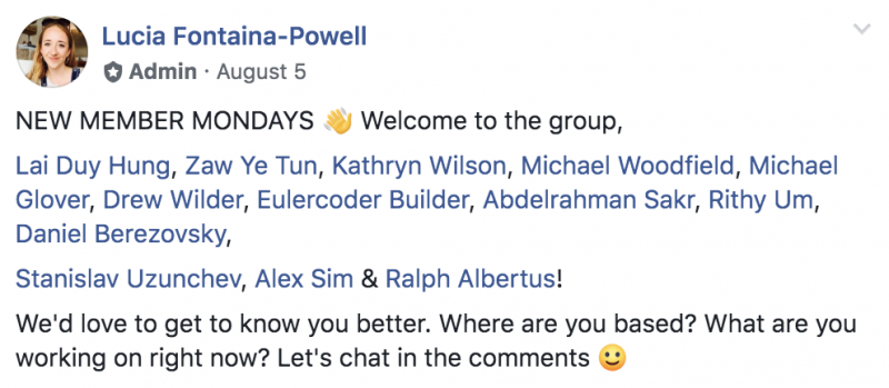 facebook group welcoming members