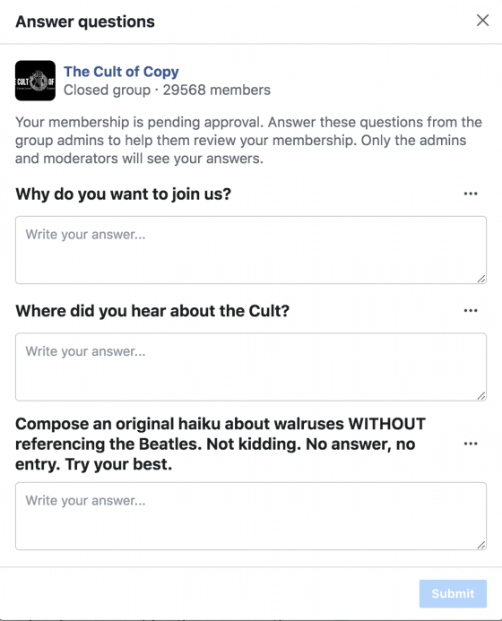 facebook group questionnaire