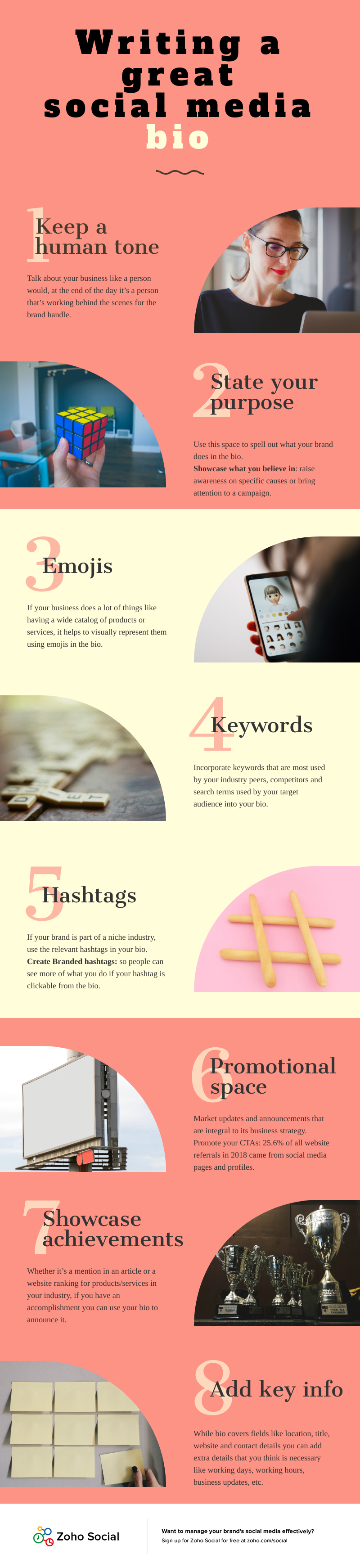infographic write a good social media bio/about for facebook instagram twitter